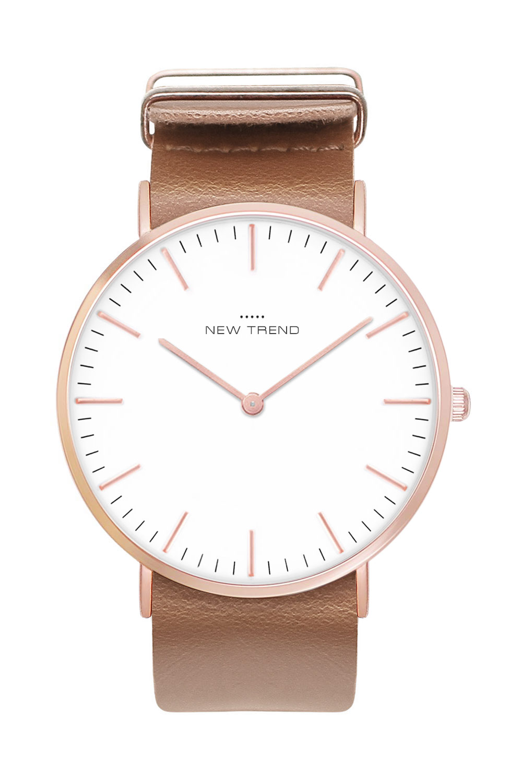 New Trend Unisex Armbanduhr Damen-Uhr Herren-Uhr, Analog Display, Quarzwerk, Leder-Armband, schlichte klassische Zeigeruhr mit Dornschließe