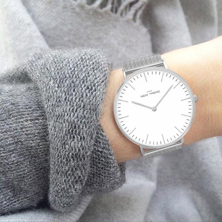 New Trend Unisex Armbanduhr Damen-Uhr Herren-Uhr, Analog Display, Quarzwerk, Metall-Armband, klassische schlichte Zeigeruhr mit Dornschließe
