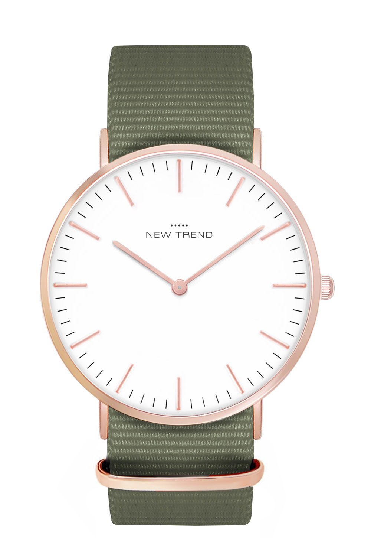 New Trend Unisex Armbanduhr Damen-Uhr Herren-Uhr, Analog Display, Quarzwerk, Nylon-Armband, klassische schlichte Zeigeruhr mit Dornschließe